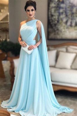 Glamorous One-Shoulder Sleeveless A-Line Evening Dresses_1