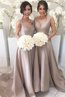 Simple Stretch-Satin Sheer-Tulle V-neck Open-Back Sleeveless Bridesmaid Dress_2