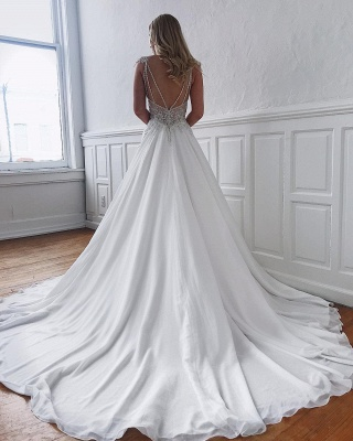 Sexy V-neck Chiffon Wedding Dresses with Beads | Open Back Appliques Cheap Bridal Gowns_2