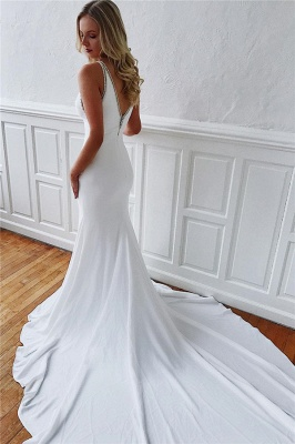 Simple Close-fitting Wedding Dresses Cheap Online with Long Train_2