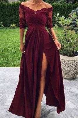 Burgundy Off-The-Shoulder Lace Appliques Side-Slit A-Line Prom Dresses_1