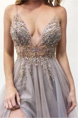 Glamorous Spaghetti-Straps Appliques Side-Slit Prom Dresses_3