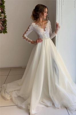 Magnifiques robes en dentelle de v-cou à manches longues une ligne robes de bal_1