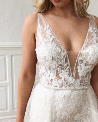Sexy V-Neck Lace Bridal Gowns Cheap | Detachable Mermaid Wedding Dresses Online_3