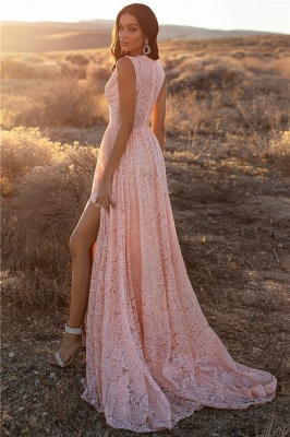 Bretelles roses dentelle v-cou dentelle fente latérale robes de soirée une ligne_2