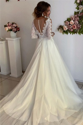 Gorgeous Lace V-Neck Long Sleeves A-Line Prom Dresses_2