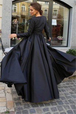 Newly Black Lone Sleeves Side-Slit A-Line Prom Dresses_2