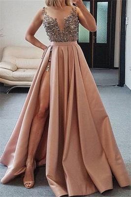 Elegant Straps Crystal Side-Slit A-Line Prom Dresses_1