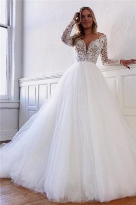 Dentelle élégante appliques manches longues tulle robes de mariée une ligne_1