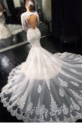 Dentelle élégante appliques manches longues robes de mariée sirène_1