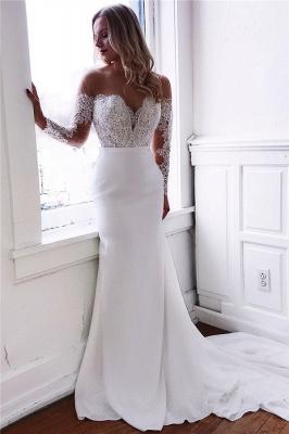 Long Sleeve Lace Wedding Dresses Cheap | Sheath Satin Dresses for Weddings_1