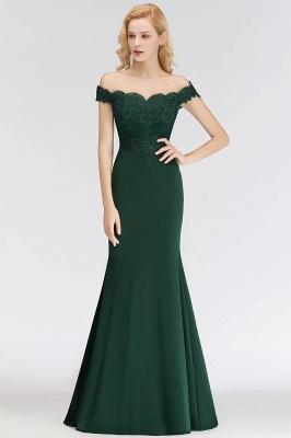 Elegant Mermaid Off-The-Shoulder Lace Green Bridesmaid Dresses_4