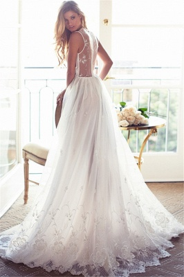 A-Line Sleeveless Gorgeous Princess Lace Custom Made V-Neck Wedding Dresses Cheap_3