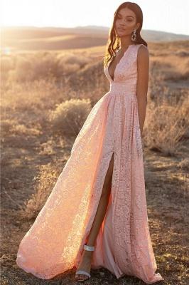 Bretelles roses dentelle v-cou dentelle fente latérale robes de soirée une ligne_4