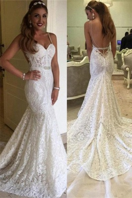 Backless Spaghetti Straps Elegant Mermaid Lace Wedding Dresses Cheap Online_2