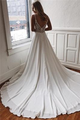 Sexy Simple Spaghetti Straps Satin Bridal Gowns | Open Back Cheap Beach Wedding Dresses_2