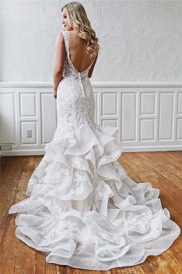 Classic Mermaid Ruffles Lace Wedding Dresses | V-neck Sleeveless Bridal Gowns Cheap Online_2