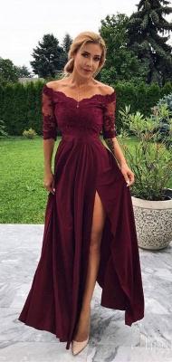 Burgundy Off-The-Shoulder Lace Appliques Side-Slit A-Line Prom Dresses_2