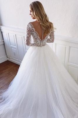 Dentelle élégante appliques manches longues tulle robes de mariée une ligne_2