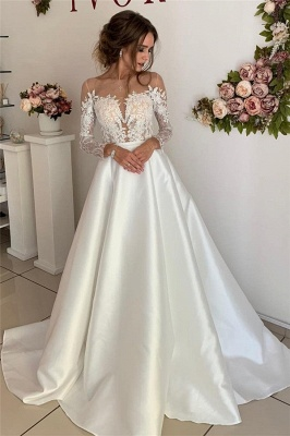 Stunning Long Sleeve Satin Wedding Dresses | Appliques  A-Line Simple Bridal Gowns Cheap_1
