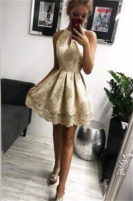 Elegant Halter Appliques Sleeveless Short Home-Coming Dresses_1
