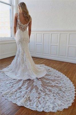 Bretelles élégantes appliques de dentelle robes de mariée sirène de cristal_1