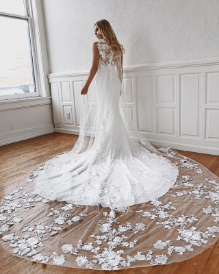Sleeveless Lace Wedding Dresses Cheap Online | Mermaid Bridal Gowns with Long Train_2