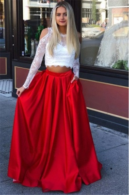Elegant Lace Long-Sleeves A-Line Two-Pieces Prom Dresses