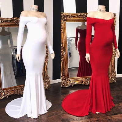 Elegant Off The Shoulder Long Sleeve Pregnant Mermaid Long Prom Dresses Cheap_2
