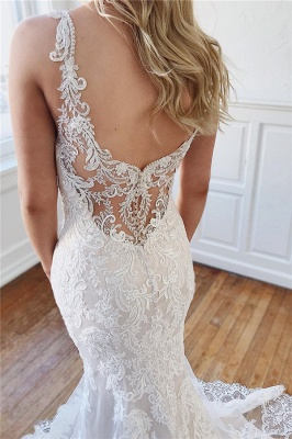 Modern Open Back Mermaid Bridal Gowns Online | Cheap Lace Wedding Dresses for Brides_3