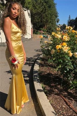 Elegant Gold Spaghetti-Straps Sleeveless Mermaid Evening Dresses_2
