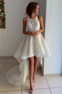 Newly Halter Appliques Sleeveless Hi-Lo Home-Coming Dresses