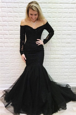 Black Off-The-Shoulder Long Sleeves Mermaid Evening Dresses