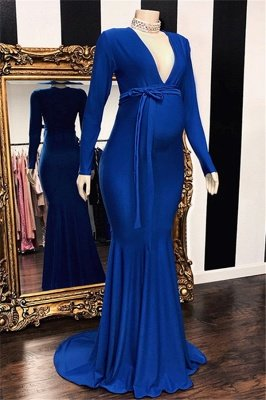 Glamorous Long-Sleeves V-Neck Pregnant Mermaid Prom Dresses