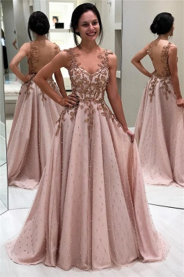 Elegant Appliques Beaded Sleeveless Backless A-Line Prom Dresses