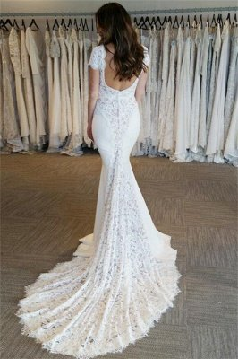 Court Train Lace Appliques V-Neck Elegant Cap Sleeves Mermaid Wedding Dresses Cheap Online_3