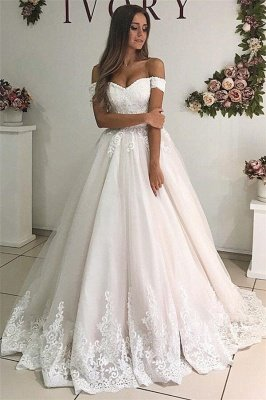 Elegant Off-The-Shoulder Appliques Tulle A-Line Wedding Dresses