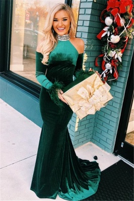 Green High-Neck Velvet Long Sleeves Mermaid Evening Dresses_1
