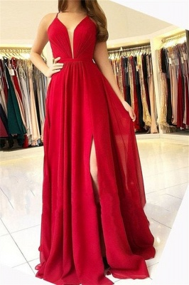 Sexy Halter Sleeveless Open-Back Side-Slit A-Line Prom Dresses