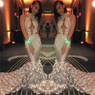 Sirène à volants fleurs sexy robes de bal sans manches 2020 | Perles Appliques Robe De Graduation Pas Cher Sans Manches BC1201_3