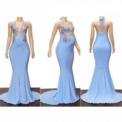 Blue Halter Appliques Sleeveless Pregnant Mermaid Prom Dresses_2