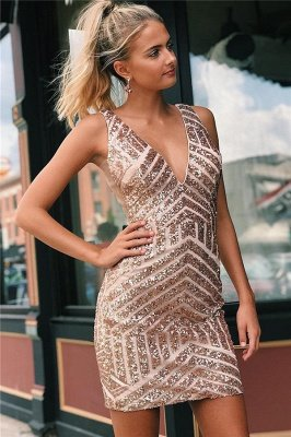 Newly Straps V-Neck Sequins Short Home-Coming Dresses_1