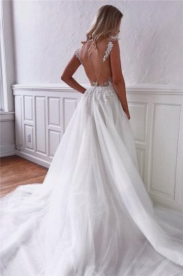Stunning Straps Appliques Bridal Gowns Cheap | See Through Backless Wedding Dresses Online_2