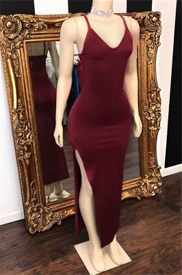 Burgundy Spaghetti-Straps V-Neck Side-Slit Prom Dresses