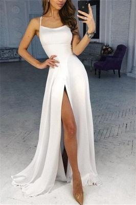 Glamorous Spaghetti-Straps Side-Slit A-Line Prom Dresses