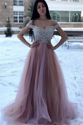 Glamorous Off-The-Shoulder Appliques A-Line Tulle Prom Dresses_1
