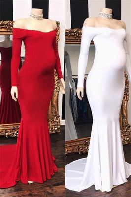 Elegant Off-The-Shoulder Long-Sleeves Pregnant Mermaid Prom Dresses