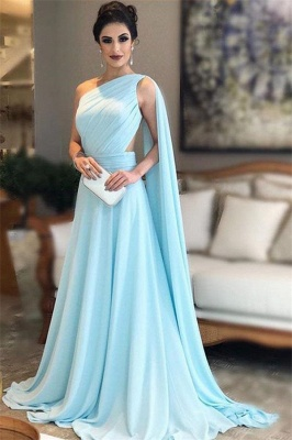 Glamorous One-Shoulder Sleeveless A-Line Evening Dresses