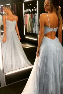 Sparkly Backless Dress Tulle Floor Length Prom Dresses | Cheap Long Evening Gowns on Sale_2