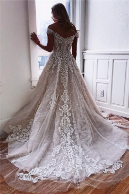 Sexy Off The Shoulder Lace Appliques Bridal Gowns | Cheap Simple Wedding Dresses Online_2